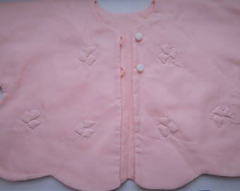 Vintage Pink Rayon Quilted Baby Toddler Jacket,