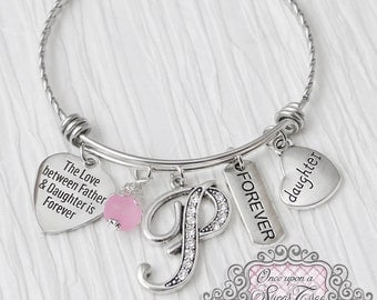 Gifts for Daughter from Dad, The love between Father and daughter is forever- Father Daugher Jewelry, Gift, Personalized Bangle Bracelet