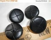 """Vintage Black Leather Flat Face Coat Buttons 45L 1 1/8"""" 28MM metal shank Made in Japan blazer jacket"""