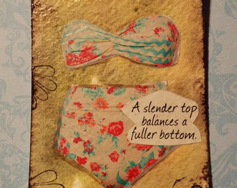 ACEO Original Mixed Media Watercolor Inspirational Art Vintage Style Swimsuit Trading Cards