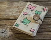 Credit Card Wallet with Cats in Pink and Mint Green, Linen and Cotton Card Holder, Hand Painted Organizer, Gift for Cat Lover