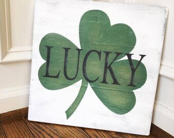 Lucky Rustic Wooden Sign