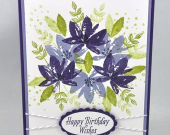 Birthday Greeting Card, Birthday Card, Happy Birthday, Birthday Wishes, Purple, Lavendar, Green, Flowers, Spring, Summer, For Her