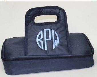CLEARANCE SALE Monogrammed Casserole Carrier - Casserole Dish Carrier - Monogram Gift - Wedding Gift - Housewarming Gift - Personalized