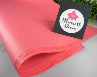 """Coral Pink Tissue Paper, Coral Wedding Decoration, Coral Packaging, 24 Sheets 20"""" X 30"""", Favor Box Tissue, Coral Gift Wrap Packaging Tissue"""
