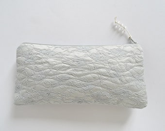 Lace Clutch Bag Gray Silver Satin Evening Purse Bridal Handbag Gift for Mother Birthday Gift for Her