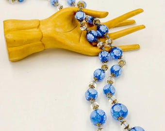 Vintage Millefirori Glass Bead Necklace Blue