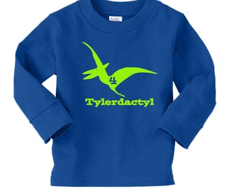 Dinosaur Birthday Shirt- long sleeve tshirt - any age and name - pick your colors!
