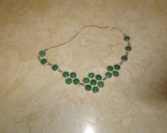 vintage necklace choker silvertone green glass flowers