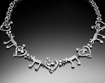 Silver Necklace Music universalgroove Hebrew chai 18 Life 8th notes music center of life treble bass love handmade Chester Allen signed