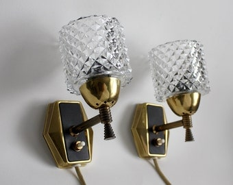 Rare Pair of 1950s Danish sconces / design wall lights / crystal glass, brass, black detail.  MCM lighting