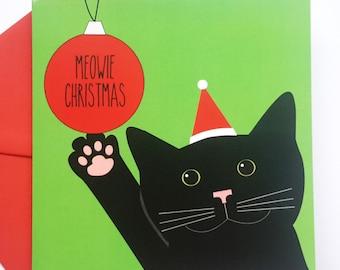 Black Cat Christmas Card - Meowie Chrismas Cat Card