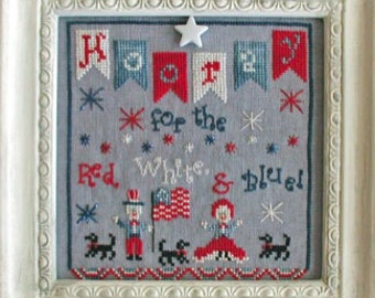 SAVE 20% OFF Hooray for the Red White & Blue INCLUDES embellishment cross stitch patterns Nashville Market 2017 by Praiseworthy Stitches