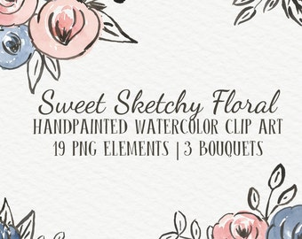 Sweet Sketchy Floral Abstract Watercolor Floral Clip Art Digital Handpainted Roses Blooms PNG Wedding Invitation Small Commercial Use OK