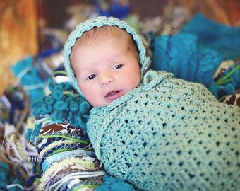 Set of 2 Crochet Patterns for Vintage Star Baby Bonnet and Swaddle Sack or Baby Cocoon - Multiple Sizes - Welcome to sell finished items