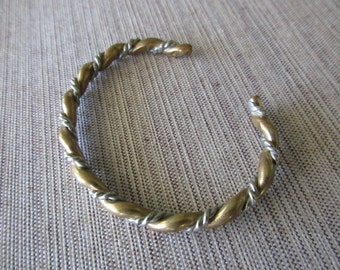 sterling silver and brass cuff rope bracelet - adjustable