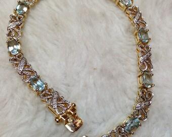 Gold Over Sterling Gemstone Bracelet