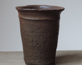 Wood Fired Tumbler, Reduction Cooled Local California Clay, #396