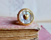 Unique gold ring, French antique 1900s ciseled mother of pearl button with vintage heart estampe promise ring, wedding
