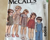 McCall's #6505 - Size 1 Toddlers' and Children's Sundress, Jumper or Top, Overalls or Sunsuit and Panties Pattern