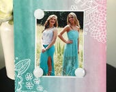 """Boho Girl Turquoise Version 1 Mint Pink Floral Lace teen girl room dorm decor gift magnetic picture frame holds 5"""" x 7"""" photo 9"""" x 11"""" size"""