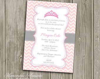 PRINTABLE INVITATIONS Chevron Princess Baby Shower or Birthday Invitation - Pink and Grey - Memorable Moments Studio