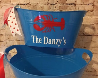 Personalized Lobster Tub - Ice Bucket - Lobster Bucket - Gift Holder - Easter Bucket - Couple's Gift - Hostess Gift - Summer Fun