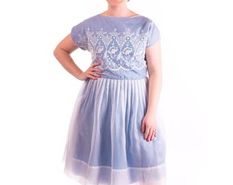 1950's Blue Lace Party Dress 50's Large/ XLarge Embroidered Pleated Skirt
