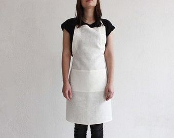 Stylish linen apron, Off white apron, Full linen apron, Kitchen apron