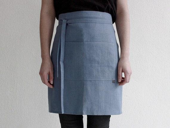 Blue linen apron, Cafe apron, Linen half apron, Unisex linen apron, Half apron Serenity Blue, Chef apron, Cafe apron,  Blue waist apron