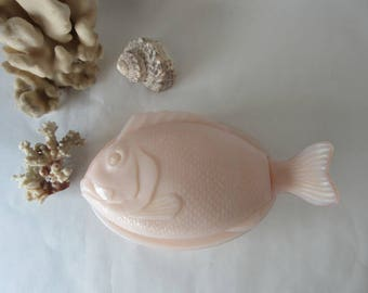 Vintage Fish Dish Pink Milk Glass Lidded Candy or Trinket Beach