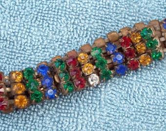 Antique Czech Glass Bracelet, Multi Colored Czechoslovakian Rhinestone bracelet Signed. , ESTATE FIND