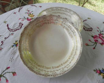 Two Shabby Cottage Creme Dishes