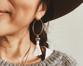 STE-01, repurposed vintage sterling silver and tassel hoop earrings