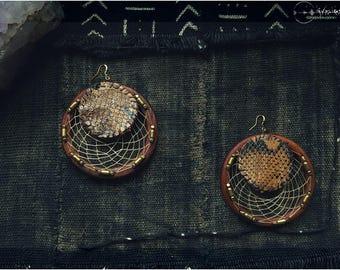 Wheel of Snake Medicine  exotic wood weaved Dreamcatcher hoop drop dangle earrings super light