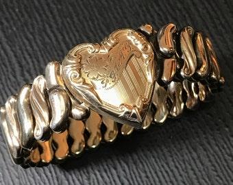 Vintage Gold Heart Expansion Bracelet. Engraved Heart. Lovers. Friendship Bracelet.  PG to AG No.001321 hs