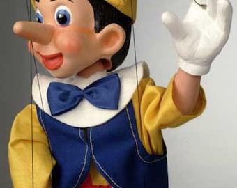 Pinocchio Cartoon Puppet - Czech Handmade Marionette from Prague