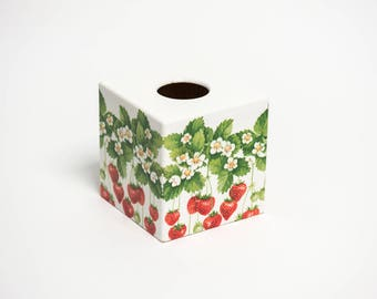 Strawberry  Wooden Handmade Tissue Box Cover