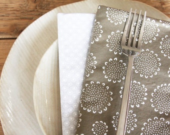 Brown with Flowers - Set of 4 Dinner Size Napkins with Off White with Circles Reverse Side - Made and Ready to Ship