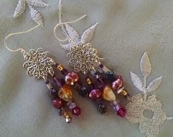 Amethyst chandelier earrings, bohemian gypsy silver citrine amethyst fuchsia crystal chandelier earrings