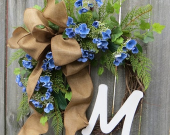 Spring Hydrangea Wreath - Spring Monogram Wreath -  Front Door Wreath Decor, Monogram Spring Wreath, Spring Blue Hydgrangea Wreath, Linen