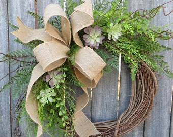 Succulent Wreath - Wreath Great for All Year Round - Everyday Burlap Wreath, Door Wreath, Front Door Wreath