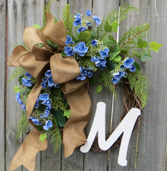 Spring Hydrangea Wreath - Spring Monogram Wreath -  Front Door Wreath Decor, Monogram Spring Wreath, Spring Blue Hydgrangea Wreath, Linen