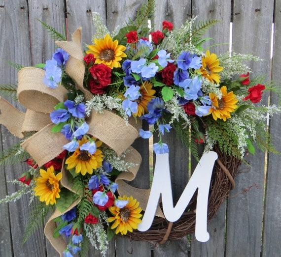 Monogram Wreath, Wreaths for Spring, Front Door Wreath, Summer Door Wreath, Housewarming Wreath, Letter Wreath, Spring Door Wreath