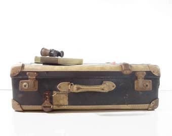 Vintage Suitcase / Black Travel Case / Vintage Luggage