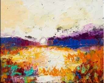 "Original Abstract Wetland Landscape Oil Painting- ""Copper Marsh""- by Claire McElveen"