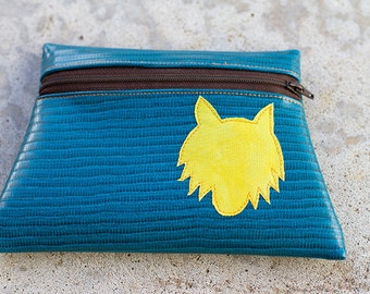 Wolf Totem Turquoise vinyl pouch