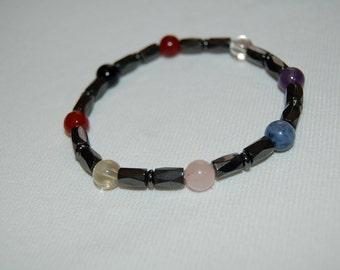 Mens All Chakra Gemstone Bracelet for Men Hematite Jewelry for Men Gift Ideas for Him Clear Quartz Metaphysical Chakra Jewelry for Men