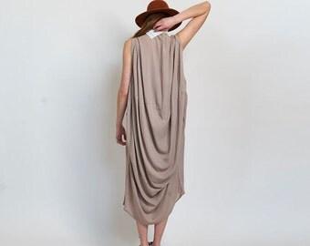 Nude Drape Dress, harem dress, Nude