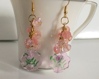 Pink flower earrings, hand made cluster earrings, handcrafted pink glass flower bead, pink faceted crystals, cherry quartz beads
